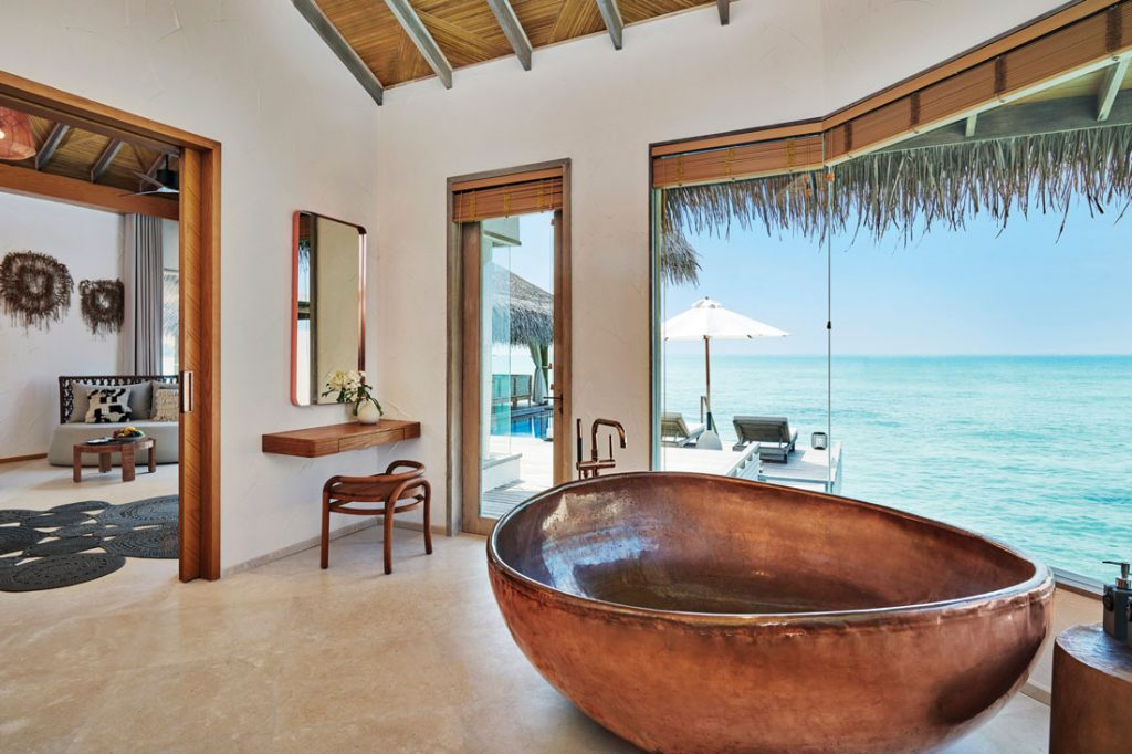 Fairmont Maldives Sirru Fen Fushi Three Bedroom Water Sunset Villa Bathroom