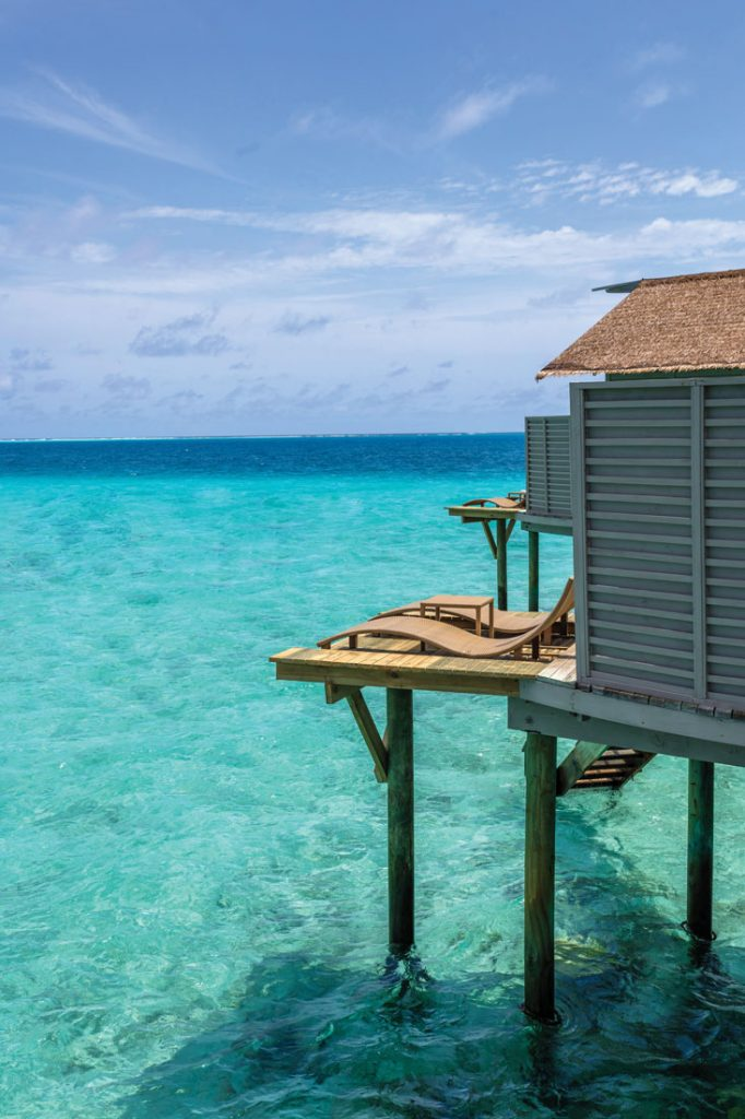 Centara Grant Island Resort & Spa Maldives overwater villa blue sea and sky