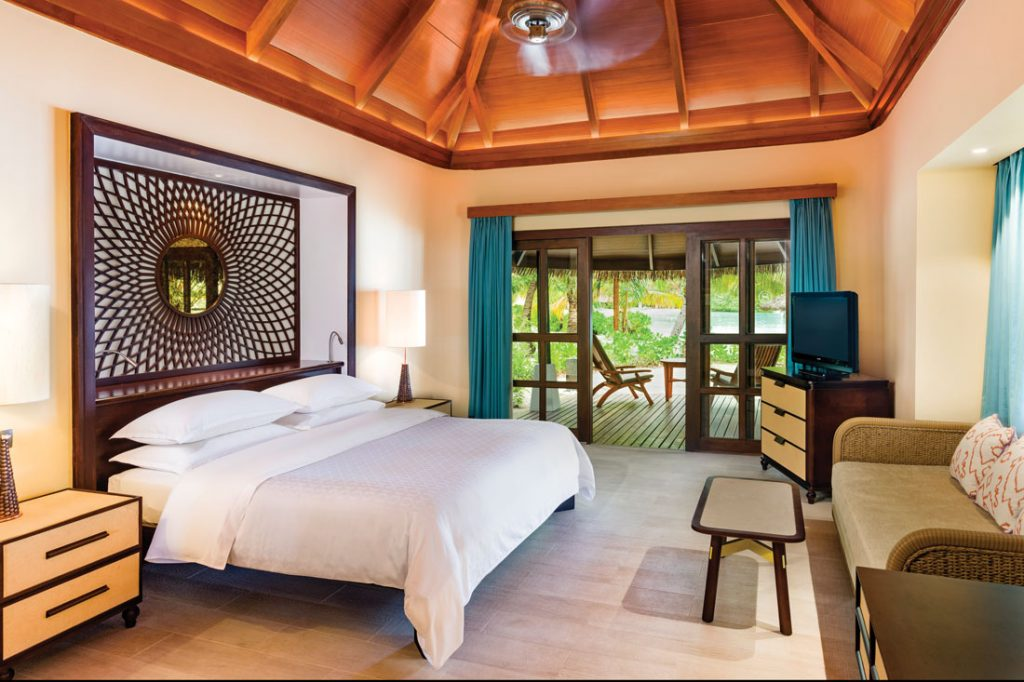 Bedroom in the beach front cottage in Sheraton Maldives - Full Moon Resort and Spa