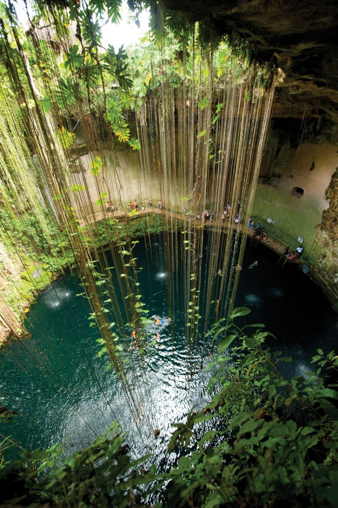 People bathing in Cenotes in Mexico