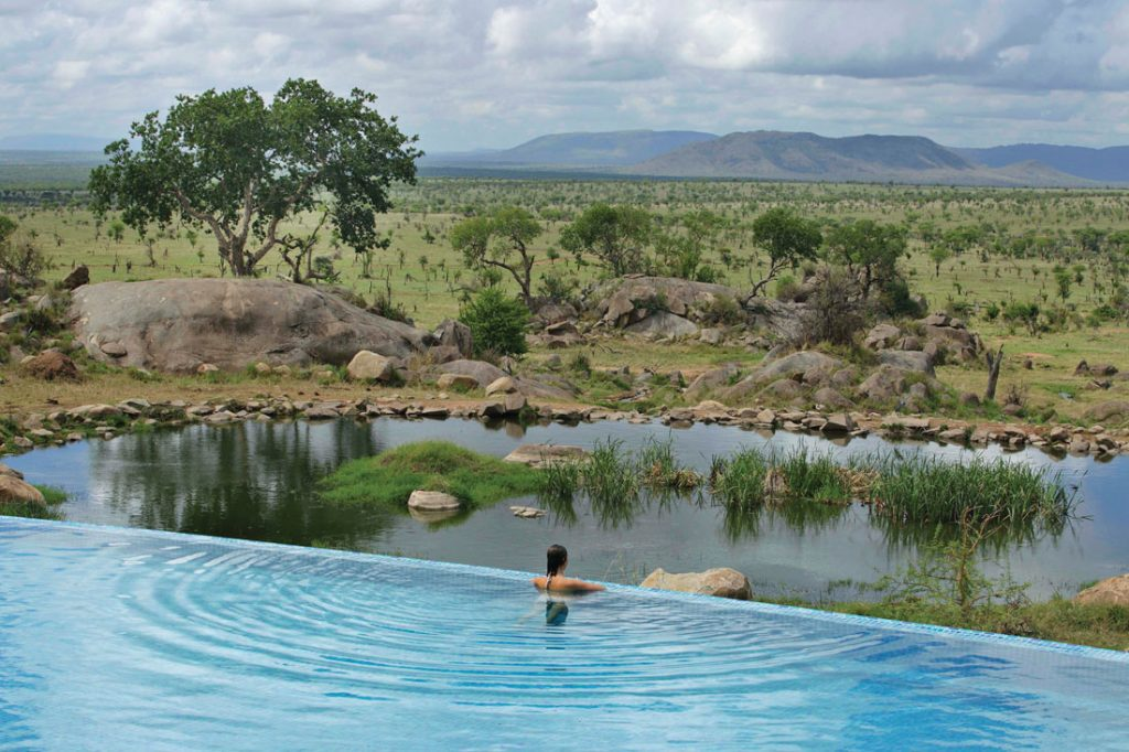 woman overlooking wildlife in infinity pool at Four Seasons Serengeti