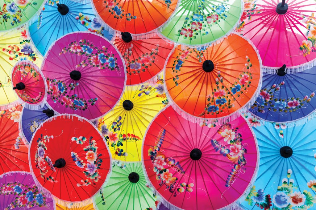 colourful Japanese umbrellas with floral pattern details