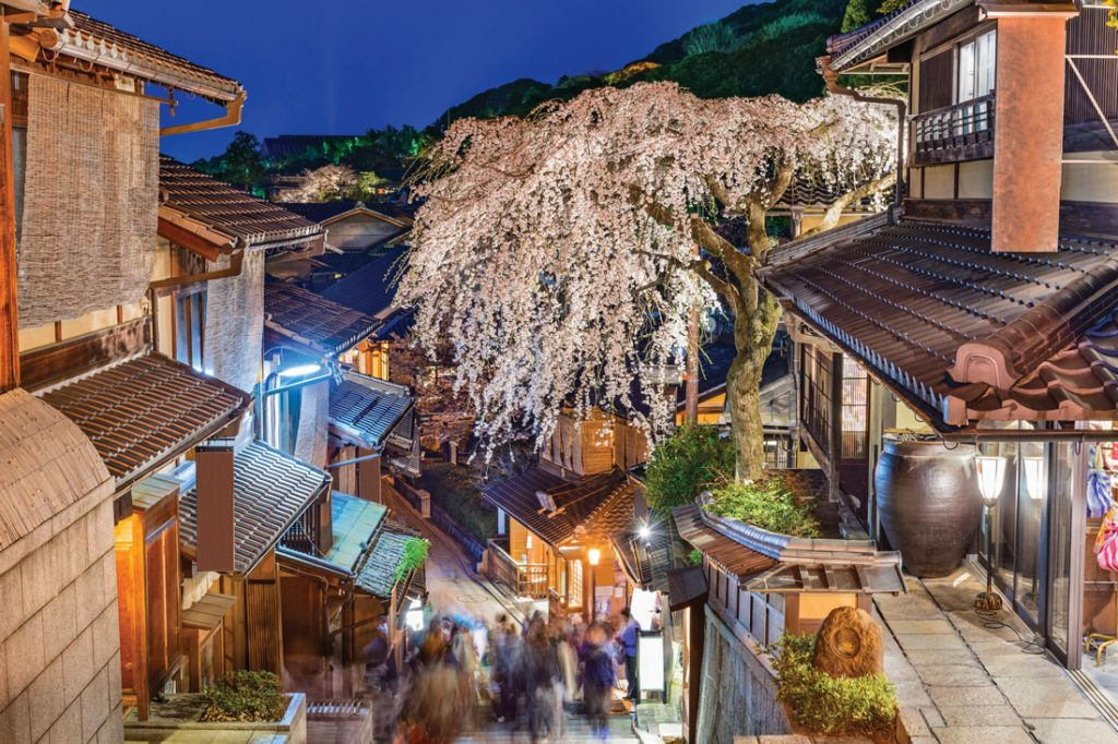 The historic Higashiyama District in Japan, view from roof at night onto streets