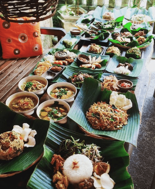 A spread of traditional Balinese dishes