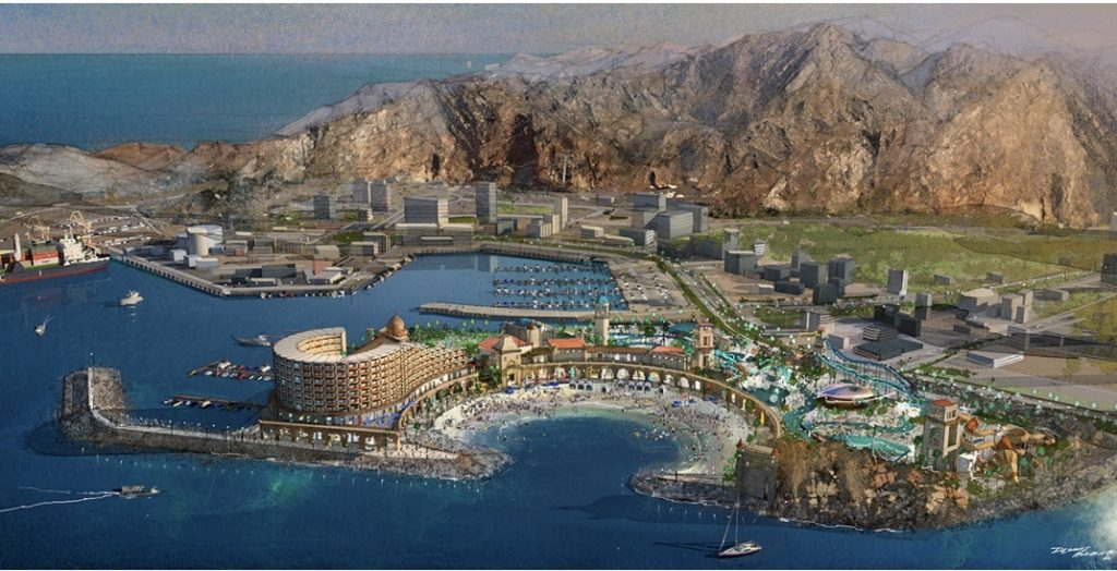 Blueprint for waterpark and resort project with Khor Fakkan's mountain and ocean views.