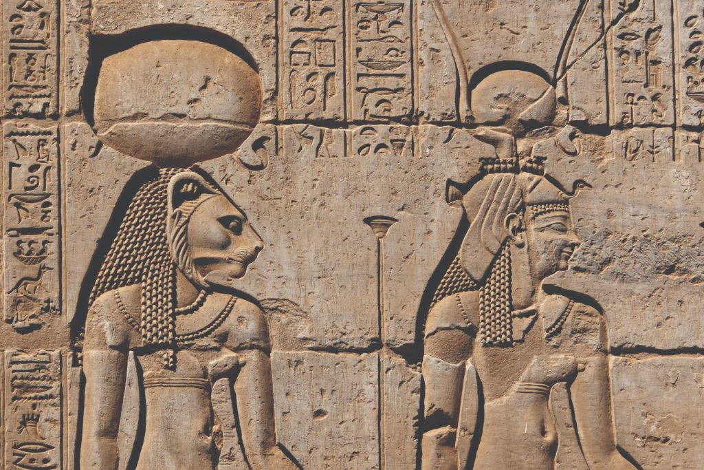 Goddesses on a wall of the Kom Ombo temple