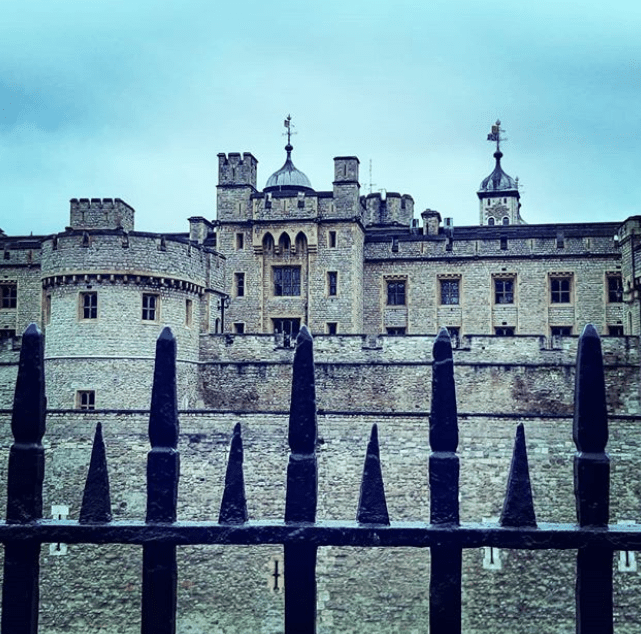The Tower of London behind the gates via Instagram @ve0jo