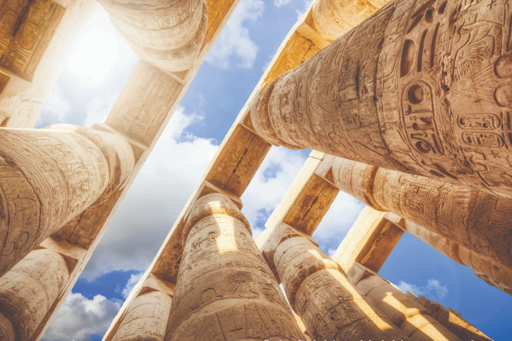 Pillars of the Great Hypostyle Hall from Karnak Temple