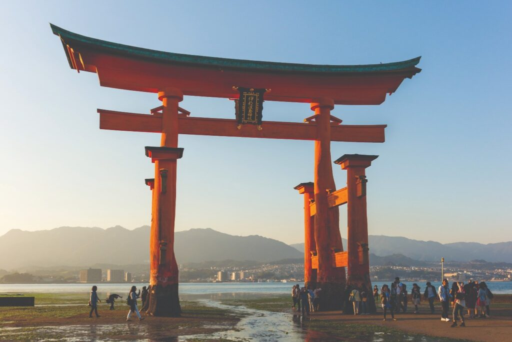 Great Torii Gate at Itsukushima Shrine in Japan