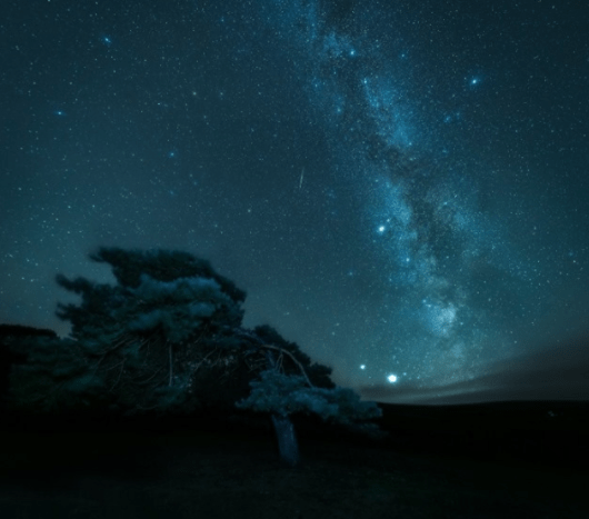 A starry night at Exmoor National Park