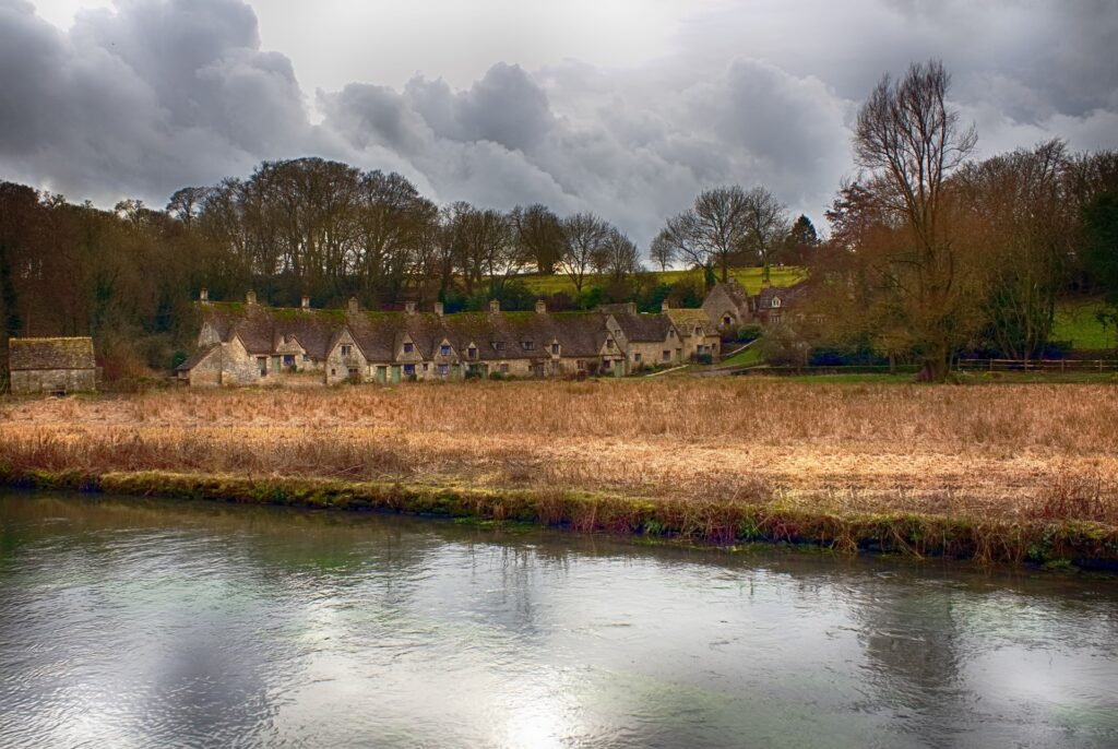 Historic houses on the river in The Cotswold UK
