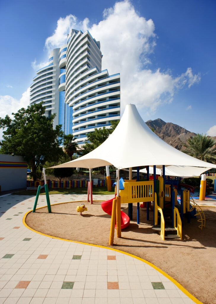 Take advantage of the kids club on offer at Enjoy the beautiful beach that leads of from Le Méridien Al Aqah Beach Resort