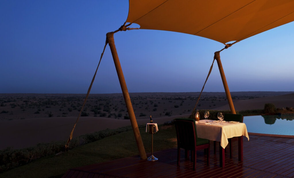 deck dining Al Maha, A Luxury Collection Desert Resort & Spa
