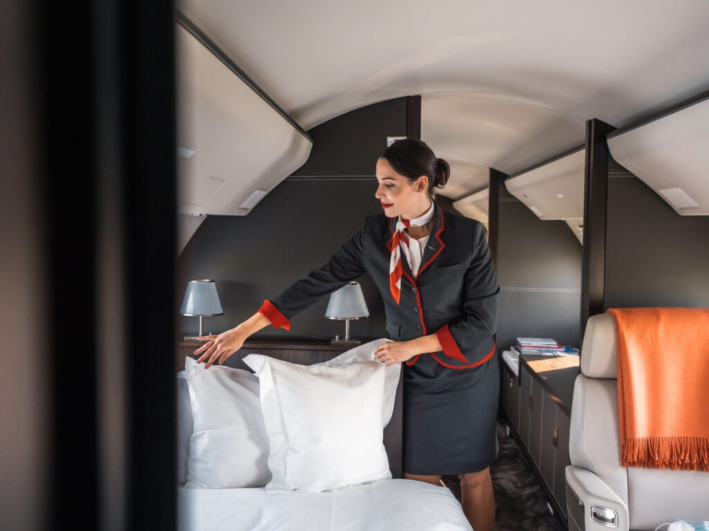 Air hostess on private jet