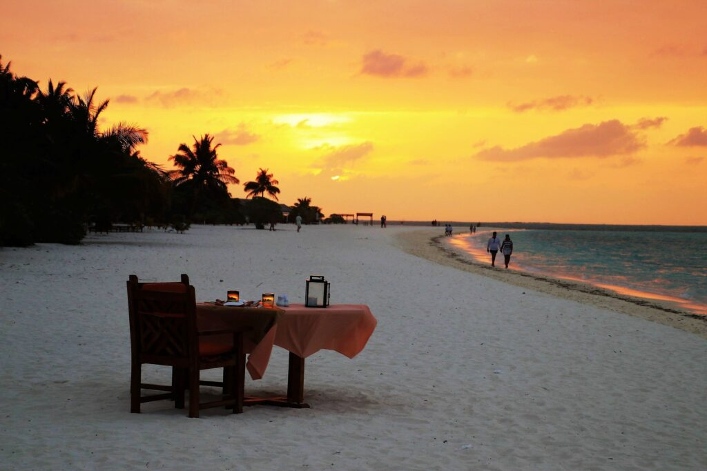 sunsets in the maldives romantic dinner on the beach