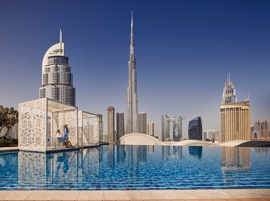 Address Fountain View pool with Burj Khalifa views and private cabanas