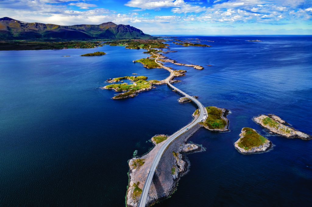 Atlantic Ocean Road or the Atlantic Road (Atlanterhavsveien) been awarded the title as Norwegian Construction of the Century. The road classified as a National Tourist Route. Aerial photography