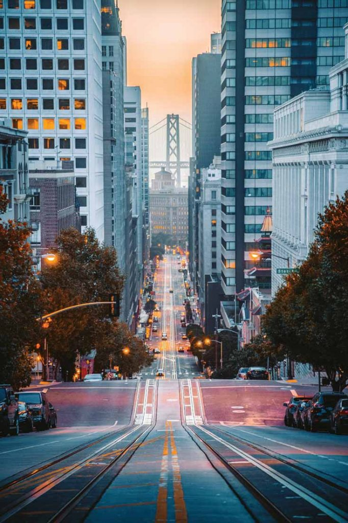 View of steep streets of San Francisco