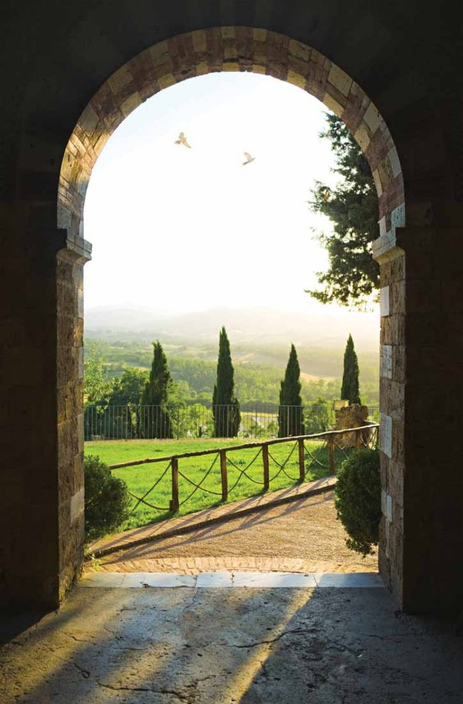 View on Tuscan landscape from small church on a hill.