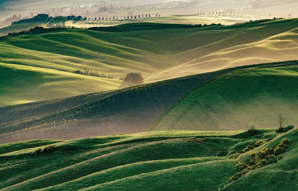 Beautiful sunrise in Tuscany, Val d'Orcia